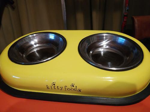 Comedero Y Bebedero Doble De Metal Grande Para Perros Gatos