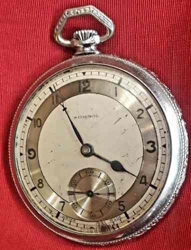 Antiguo Reloj De Bolsillo Sombol Funcionando Estilo Art Deco