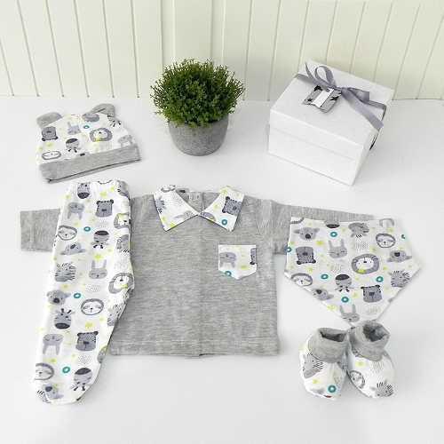 Caja B3 Ajuar Verano Bebé Nacimiento 5 Pzas Cloe