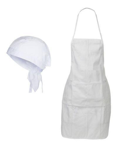 Set 40 Delantal De Cocina + 40 Gorro Bandana De Cocinero