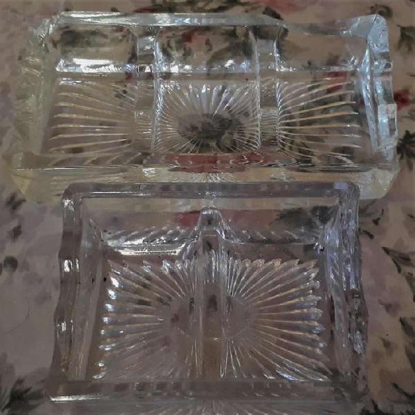 2 Porta Clips De Escritorio Vintage De Vidrio Labrado