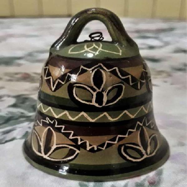 Antigua Campanita De Ceramica Esmaltada Decorado Artesanal
