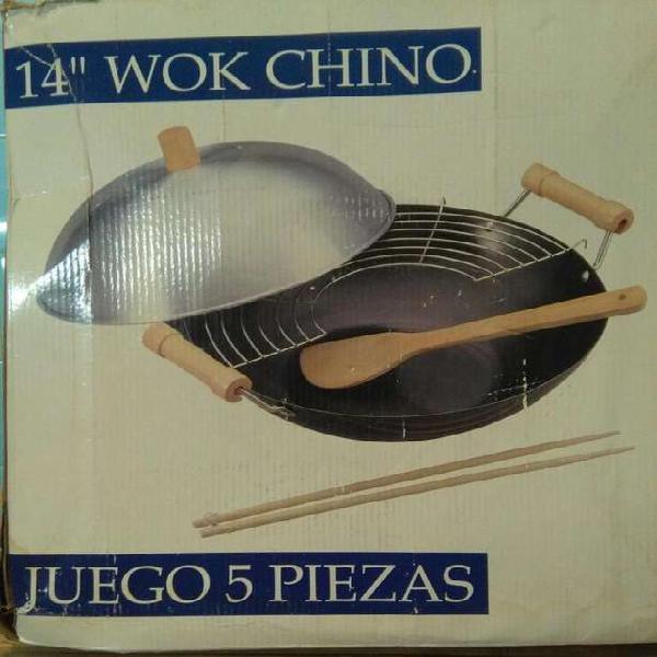 WOK CHINO DE TEFLÓN JUEGO DE 5 PIEZAS