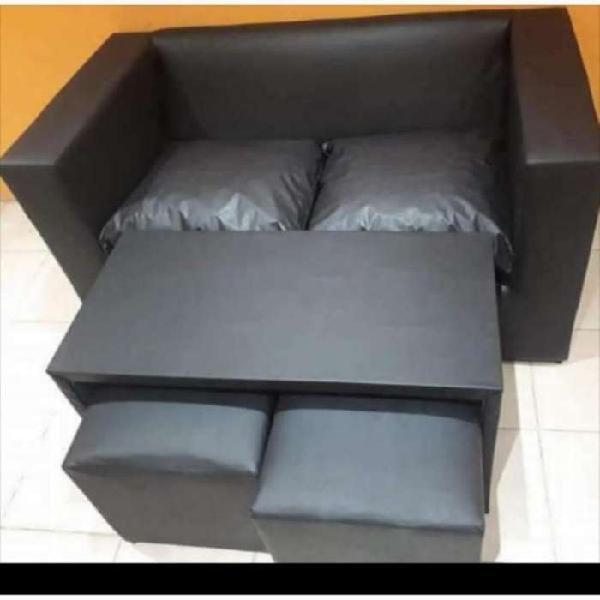 Sofa 2 Cuerpos Mesa 2 Puff 5900