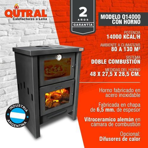Qutral Estufa Salamandra A Leña 14000 Kcal Con Horno