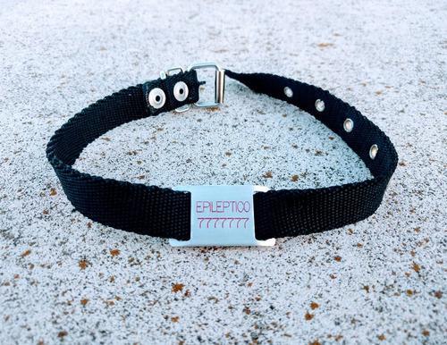 Chapita Para Perro Pasador Chico (modelo 28) +collar Negro