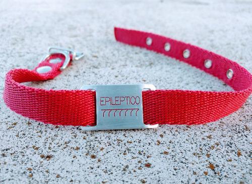 Chapita Para Perro Pasador Chico (modelo 28)+collar Rojo