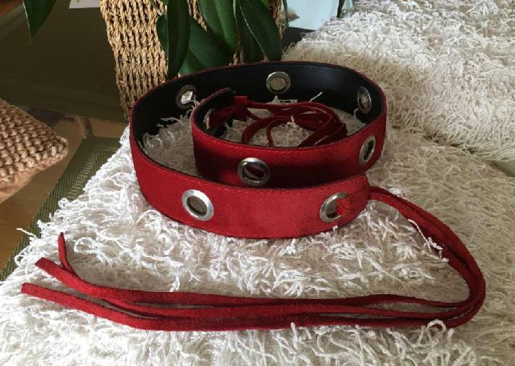 Cinturón Argollas de Mujer en Cuero de 4cm Rojo
