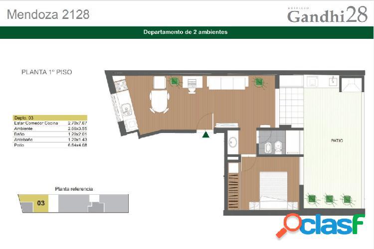 Departamento de 1 dormitorio con patio Exclusivo. A metros
