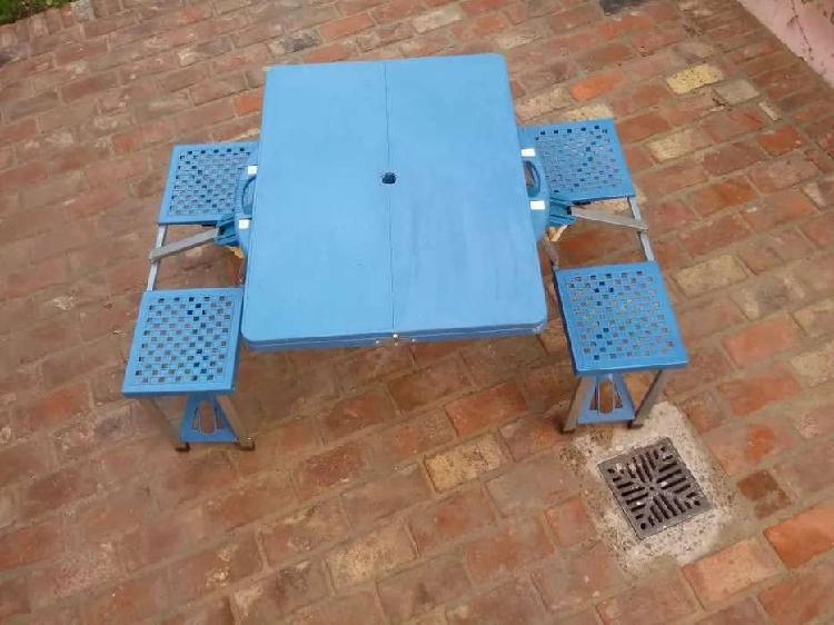 Mesa Camping 4 Sillas -alumino+plastico -oportunidad