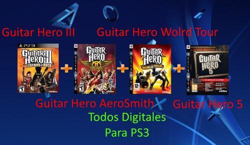 Guitar Hero 3, 5 Y Aerosmith Para Ps3 (todos Digitales)