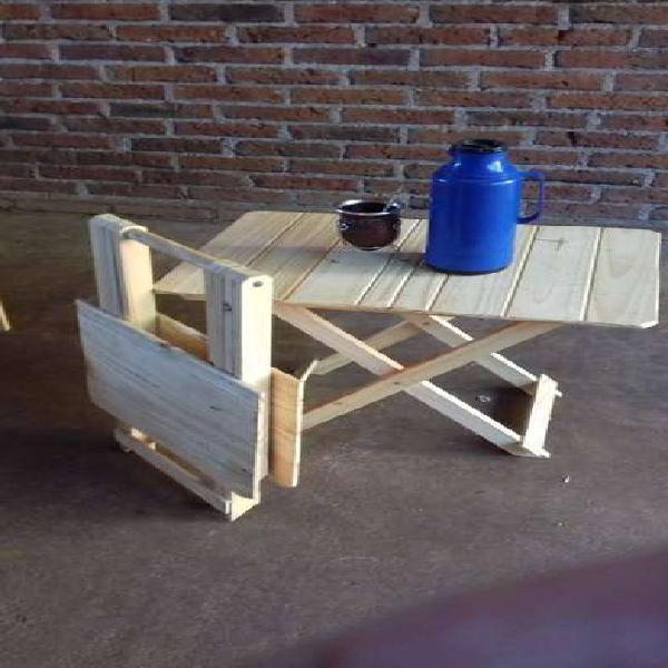 mesa matera rebatible de pino ideal para campingg