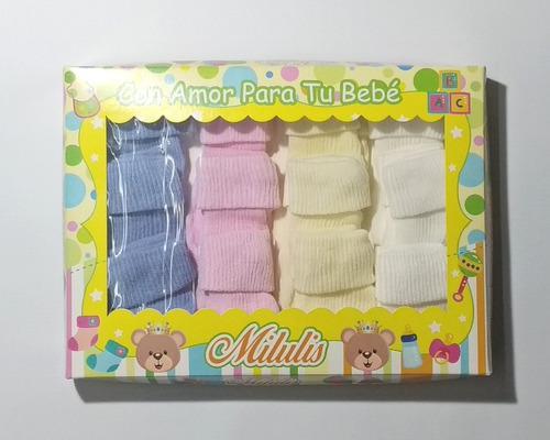 Pack X 12 Medias Tubito Bebe Recien Nacido Colores Surtidos