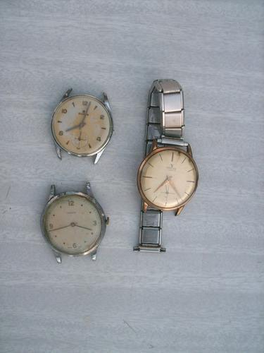 Lote De 3 Antiguos Relojes De Pulsera A Cuerda Para Repuesto