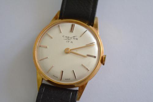 Reloj Pulsera Hombre Carcor Oro Plaque Vintage N.o.s Antiguo