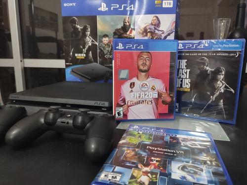 Ps4 Slim 1 Tb Fifa 20 + 2 Joystick + Juegos