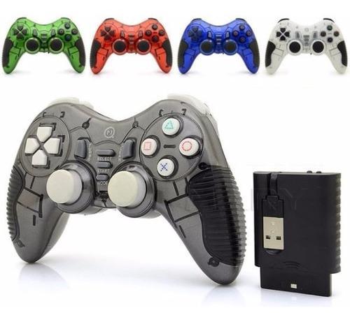 Joystick Pc Playstation Ps2 Ps3 Inalambrico Bateria + Cable