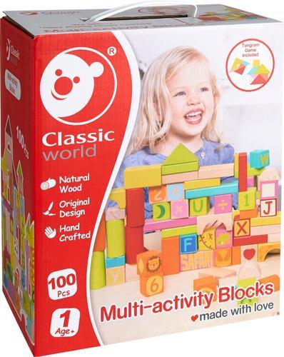 100 Bloques Multiactividad Apilables Madera Classic World