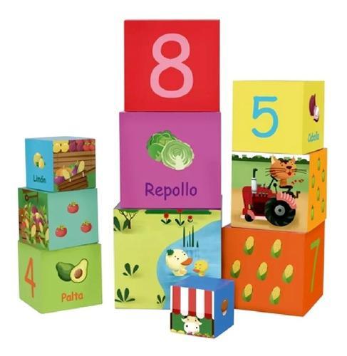 Cubos Apilables X 10 De Numeros Y Vegetales Classic World