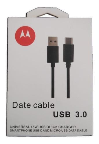 Cable Usb Tipo C Type 3.0 Motorola Original Carga Rápida
