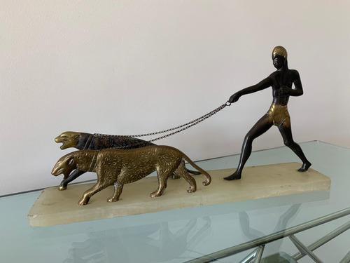 Adorno Escultura Bronce Base Mármol