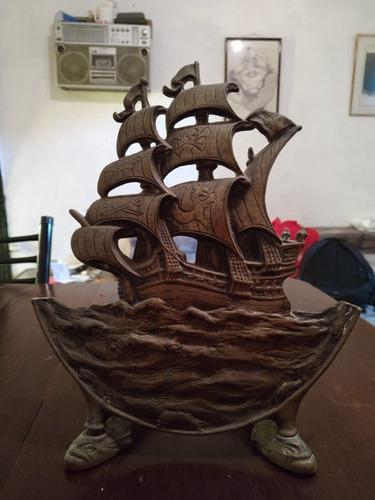 Barco Pirata De Bronce - Adorno