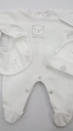 Set De Nacimiento De 3 Piezas Enterito, Gorro Y Babero