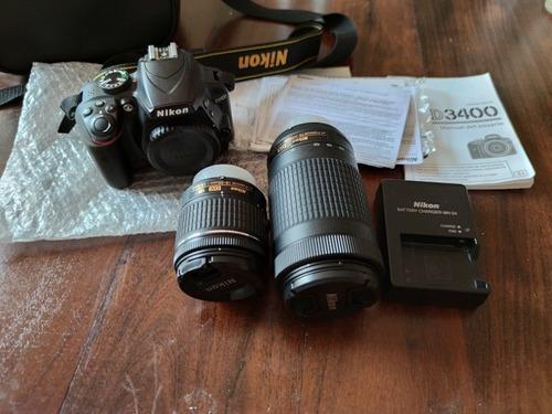 Camara Nikon D3400 Kit Con Lentes Usada En Buen Estado
