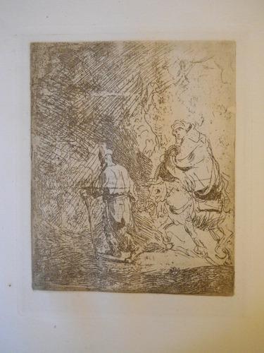 Antiguo Grabado De Rembrandt Van Rijn