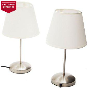 Lámpara de Mesa 2 Luces Just Home Collection Bassic-Niquel