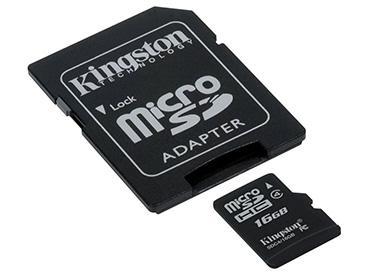 Tarjeta de Memoria Kingston MicroSDHC 16 GB con Adaptador -