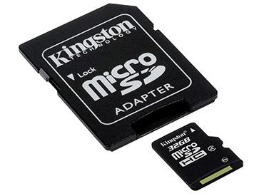 Tarjeta de Memoria Kingston MicroSDHC 32 GB con Adaptador -