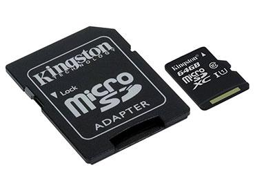 Tarjeta de Memoria Kingston MicroSDXC 64 GB con Adaptador -