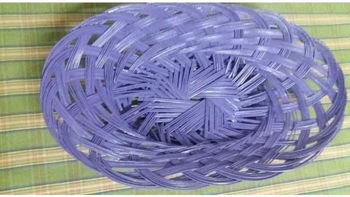 Panera mimbre violeta medidas largo 44 cm ancho 25 cm alto 9