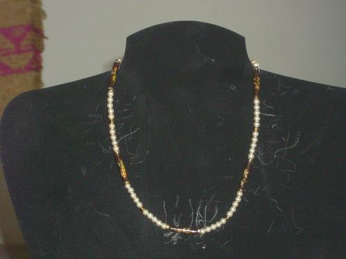 Antigua Gargantilla Retro Vintage Perlas Y Ceramica Cº