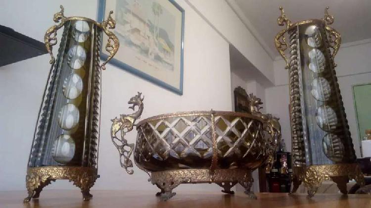 Garniture cristal antiguo y bronce 40cm alto