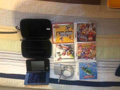 Nintendo 3ds Xl Con Cargador 220v Y 5 Juegos