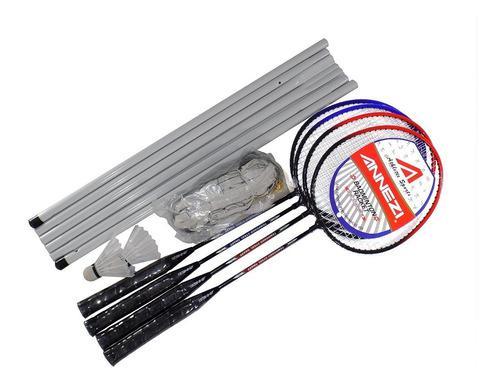 Set Badminton Annezi 4 Raq. Acero + 2 Plumas + Red + Porta