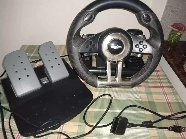 Volante con pedalera y palanca para PS2 PS3 y compu