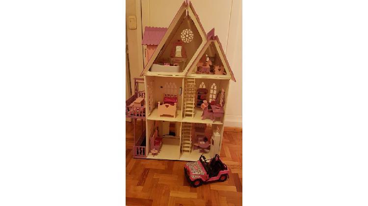 Casita De Muñecas con Muebles Barbie Mdf Grueso Pintada