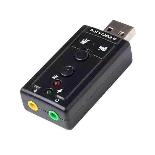 Placa audio sonido externa 7.1 USB con control de volumen