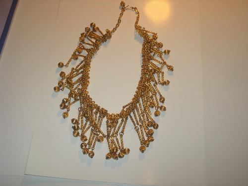 Antiguo Collar Gargantilla De Metal Dorado Oro M/bueno