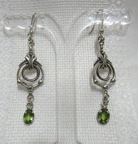 Aros Plata 925 Estilo Art Nouveau Piedras Peridot Verdes