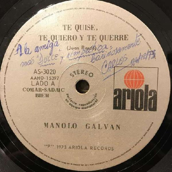 Dos discos simples de Manolo Galván
