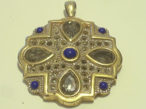 Muy Antiguo Dije Metal Dorado Con Piedras Y Strass Del ´30