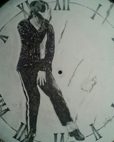 Reloj De Madera Con Dibujo A Mano De Michael Jackson