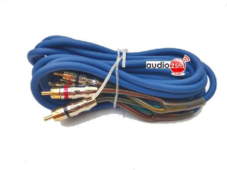 CABLE RCA SILICONADO 2 CANALES FREEOXIGEN 4 RCA CROMO BRONCE