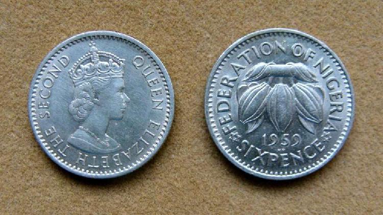 Moneda de 6 peniques Nigeria 1959