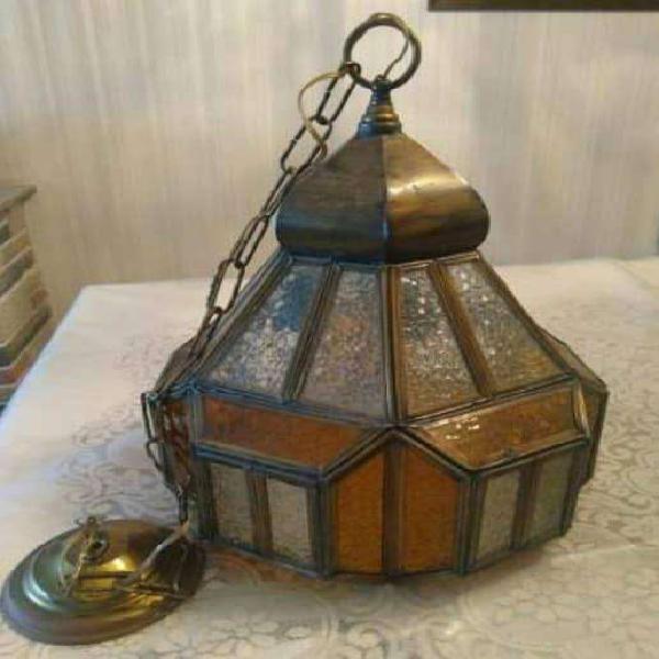 Lámpara (2 modelos) de colgar bronce vidrio repartido