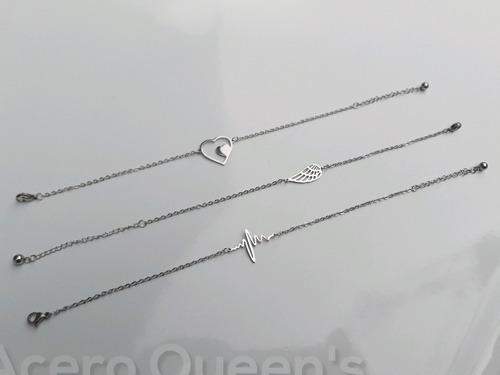 Set De 3 Pulseras Finas Con Centro Dije Acero Quirurgico